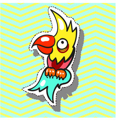 Parrot funny with smile fashion patch badge pin vector