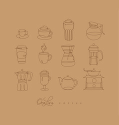 pen line coffee icons beige vector image