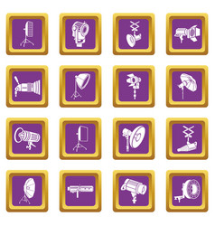 photography icons set purple square vector image