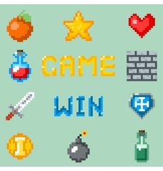 Pixel games icons for web app or video game vector