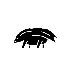 porcupine black icon sign on isolated vector image