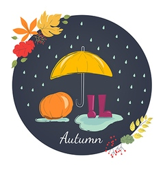 Rainy autumn with rubber boots Season of rains vector