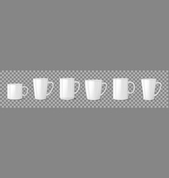 realistic blank white coffee mug cups on vector image
