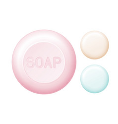 Rounded bar of soap isolated on white easy vector