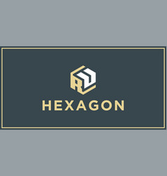 ru hexagon logo design inspiration vector image