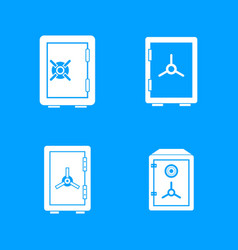 safe icon blue set vector image