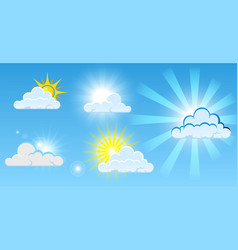 set clouds panorama with clean bright sunshine vector image