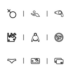 Set of 9 editable trade outline icons includes vector