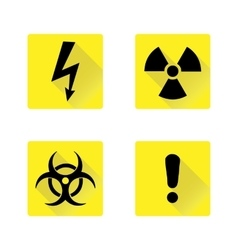 Set of black warning signs on the yellow vector