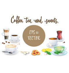 Set of coffee drinks sweets and bakery products vector