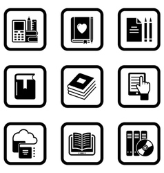 set of nine book icons vector image