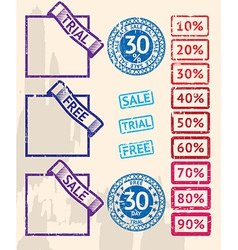 Set of sale stamps with percents vector