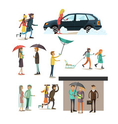 set of weather concept flat style design vector image