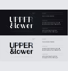 Simple minimal fonts with shadow paper cut style vector