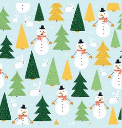 snowmen seamless kids pattern cute snowman vector image