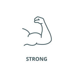 strong arm bodybuilding line icon linear vector image