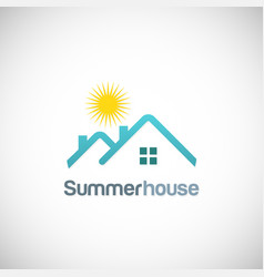 summer house sun logo vector image