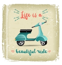 Summer time design with vintage scooter vector