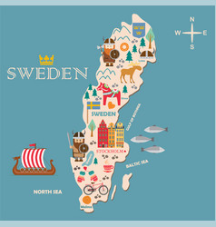 sweden symbols map with tourist attractions vector image