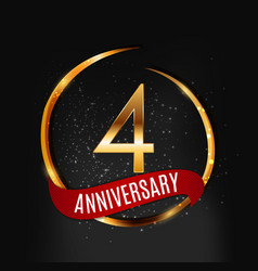 Template gold logo 4 years anniversary with red vector