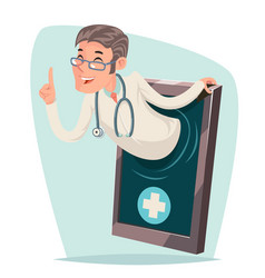 Treatment doctor quality smartphone cartoon mobile vector