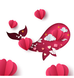 valentines day whale paper cartoon vector image