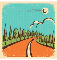 Vintage Nature landscape with road vector image