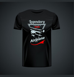 vintage t-shirt template with airplane logo vector image