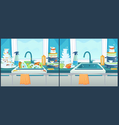 Washing dishes in sink dirty dish in kitchen vector