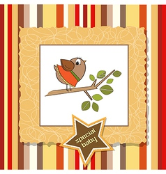 Welcome card with funny little bird vector