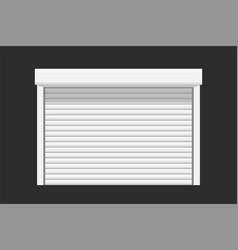 White garage door on dark vector