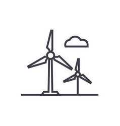 wind turbine line icon sign vector image