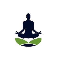 yoga meditation pose logo icon vector image