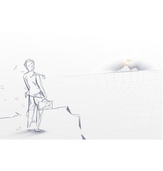 young businessman standing on edge mountain vector image