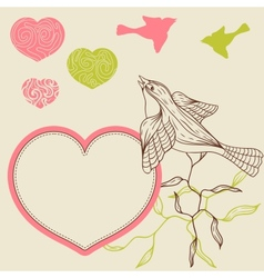 Birds flower and hearts concept vector image vector image