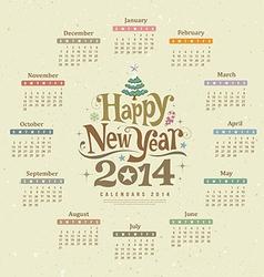 Calendar happy new year 2014 text design vector image vector image