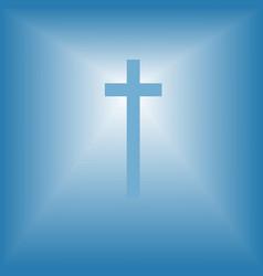 cristian cross over bright light vector image
