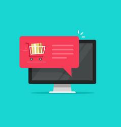 desktop computer with shopping cart full flat vector image
