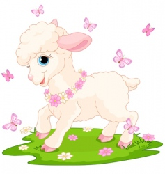 Easter lamb and butterflies vector image