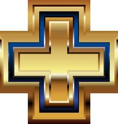 Golden cross symbol vector
