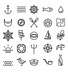 Nautical marine line icons set vector image vector image
