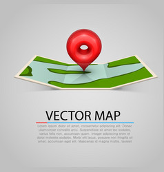 paper map sign with red mark vector image vector image