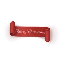 Realistic scroll Christmas Ribbon on white vector image