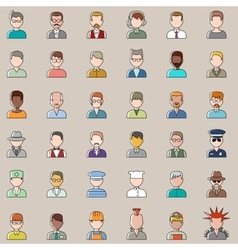 Set of outline people icons Men vector image