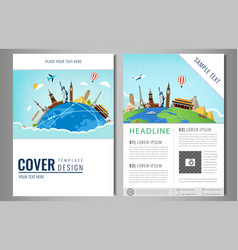 Travel flyer design with famous world landmarks vector