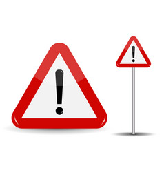 warning road sign red triangle with exclamation vector image