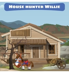 Wooden old house of the hunter and his horse vector image