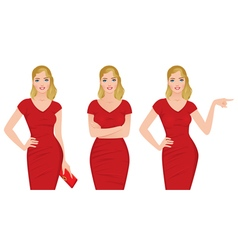 Beautiful blonde woman in a red dress vector image