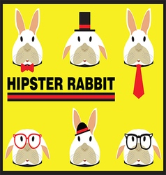 Hipster Rabbit Flat Cartoon vector image vector image