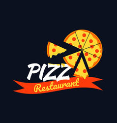 logo pizza design with pizza slice on black vector image